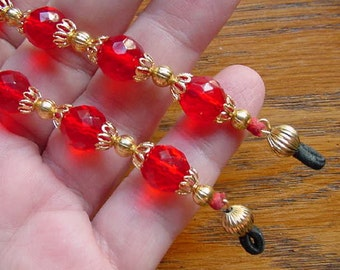 clear Red colored faceted glass Eyeglass leash holder necklace chain with gold tone bead + filigree cap accents accessory E-209