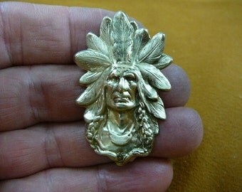 Native American Indian Chieftain Chief man headdress brass pin pendant B-Native-18-6