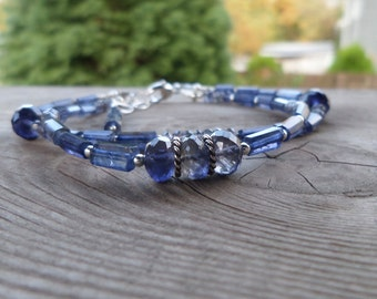 Double Strand Iolite Gemstone and Sterling Silver Gemstone Bracelet