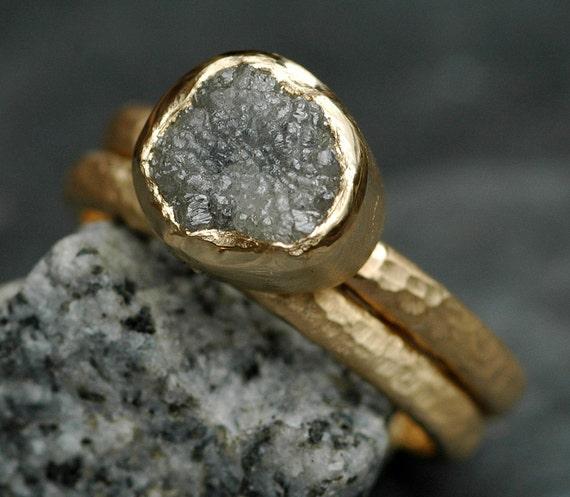 Bezel-Set Rough Raw Uncut Large Diamond Engagement Ring and Wedding Band Set Recycled 14k or 18k White, Rose, or Yellow Gold Raw Stone Ring