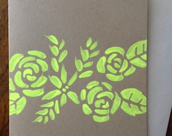 Neon Pattern Hand Painted Card