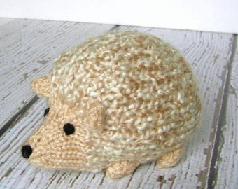 """Woodland Animal, Hand Knitted Little Hedgehog Toy, Ready To Ship, Stuffed Toy Knit Toy Stuffed Animal Porcupine Woodland Nursery 4 1/2"""" Long"""