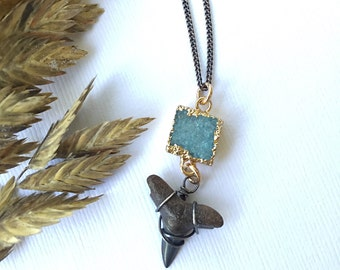 Turquoise Druzy Mermaid Necklace