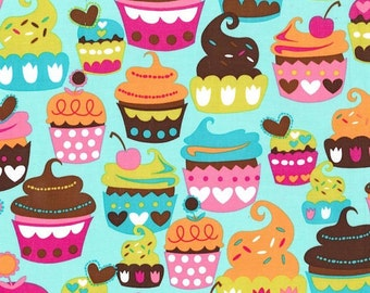 Michael Miller Fabric Sweet Treats Turquoise, Choose your cut