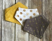 Drool Bib Bandana Bibdana Waterproof - You Choose the Fabric - trendy metallic gold arrows polka dots mustard yellow coin grey