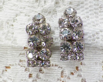 Very Sparkly / Classy Clear Rhinestone Clip On Earrings, Silver Tone Metal, Clip Ons, Rhinestones, Bride / Bridal / Wedding