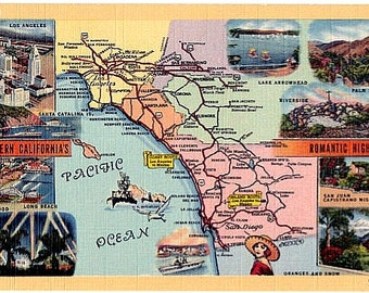 Vintage California Postcard - Map of Southern California (Unused)