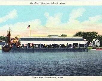Vintage Martha's Vineyard Postcard - Memorial Wharf from the Harbor, Edgartown (Unused)