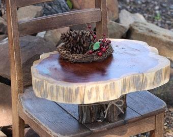 "Rustic Cake Stand, OoaK, Tree slice + Stump, Inlaid gemstone, 15""x13""x2"" height 6.5"", Texas rustic woodsy wedding, party, event, dessert"