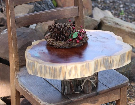 rustic cake stand tree slice stump wedding tree slice. Black Bedroom Furniture Sets. Home Design Ideas