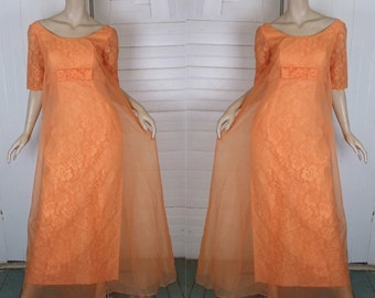 60s Tangerine Formal Dress- 1960s Prom- Lace & Chiffon- Empire Waist / Regency- Orange / Peach