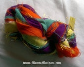 Recycled Multicolor Sari Ribbon Yarn, Sari Silk Yarns & Ribbons, Crochet Yarn, Fair Trade Yarn, Scrapbook Ribbon, Art Yarn, Best Silk Ribbon