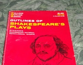 vintage 1963 book: Outline of Shakespeare's Plays - paperback