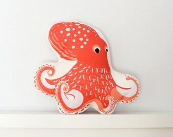 Octopus Pillow - Throw Pillow, Decorative Pillow, Baby Pillow, Nursery Pillow, Stuffed Animal