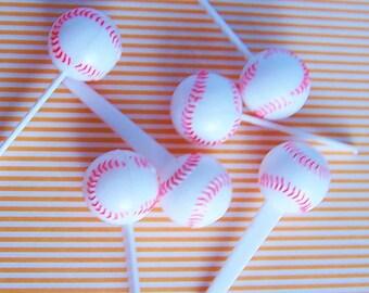 6 Baseball Ball 3d Cupcake Picks