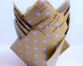 24 Gold with Silver Dot Tulip Paper Cupcake Liners