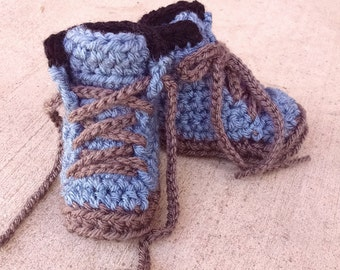 Baby Booties, Hiking Boots, Baby Work Boots, Construction Boots, Crochet Baby Booties