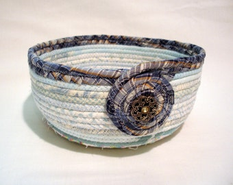 Winter Ice Blue Coiled Fabric Bowl