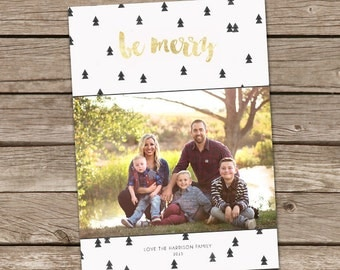 Photo Christmas Card : Be Merry Custom Photo Holiday Card Printable
