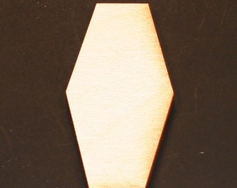 Unfinished Wood Hexagon Elongated - 2 inches by 1 inch and 1/8 inch thick wooden shape (HEXG10)
