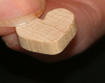 Unfinished Wood Heart - 1/2 inch by 1/2 inch and 1/8 inch thick wooden shape (WW-WH0512)
