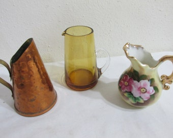 Miniature Pitchers Set of 3 Copper, Porcelain, and Amber Art Glass Instant Collection