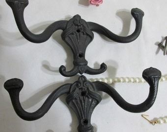Cast Iron Hooks Set of 2 Black Unique Design