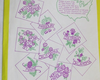 Aunt Martha's Hot Iron Transfer Pattern Unused 50 State Flowers plus Quilt Layout