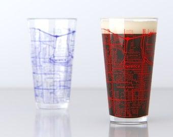 Lawrence, KS - Kansas University - College Town Pint Map Glasses