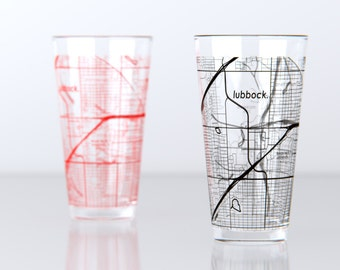 Lubbock, TX - Texas Tech- College Town Pint Map Glasses