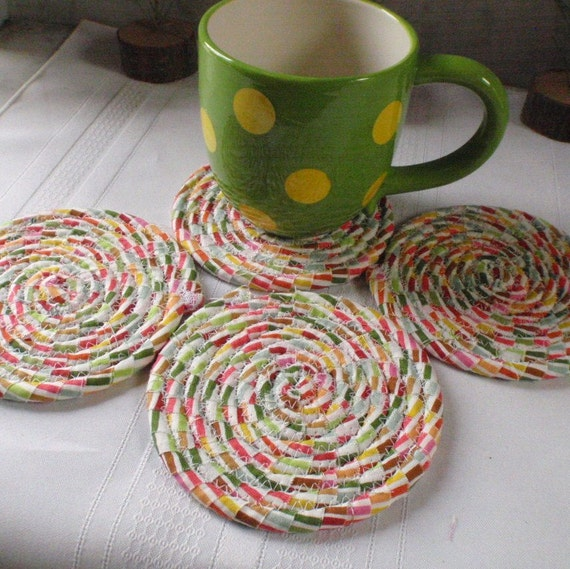 Lollipop Swirl Coiled Fabric Coasters Set of 4 Absorbent