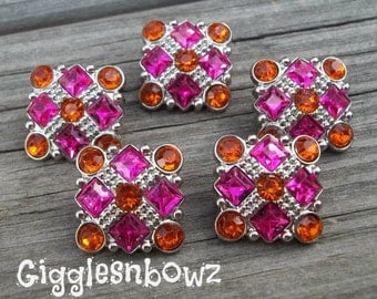 Sale Rhinestone Buttons- 5pc Shocking Pink/Orange Rhinestone Buttons- 21mm Headband Supplies-Diy Supplies- Sewing Button- Diy Baby Headband