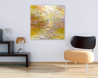 Original Abstract Painting, Large Square 24x24 Canvas, Cusp of Spring by Jessica Torrant, modern decor, yellow lavender white impressionist