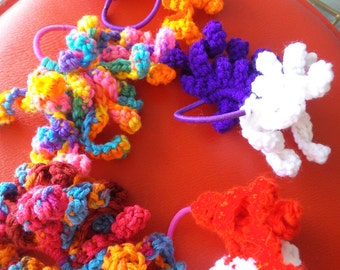 Crocheted Ponytail Holders, Hair Accessories, ponytail accessories,hair bows, curly q ponytail holders,unique ponytail holders