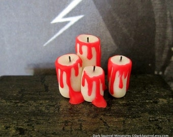 Vampyre Dripping Candles dollhouse miniature, spooky, Halloween, vampire, gothic, haunted in 1/12 scale