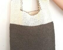 Handmade Bag,Crochet Shoulder Bag, Handbags ,Summer Fashion Bag,Raffia Yarn Bags