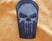 Punisher logo, Leather bracers, leather cuffs, armor, costume