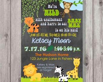Digital Wild Jungle Animals Chalkboard Style Baby Boy or Gender Neutral Shower Invitation Printable