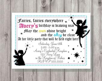 Digital Enchanted Fairies Fairy Birthday Girl Party Invitation Printable