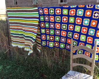 Vintage Afghan lot of 2 Bright Blue orange Yellow green Stripe and Granny Square