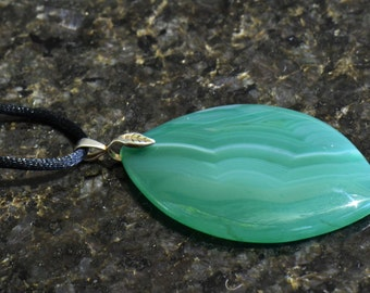 Green Striped Agate Leaf Teardrop Pendant Necklace with Sterling Silver Leaf Bail on Black Satin Cord
