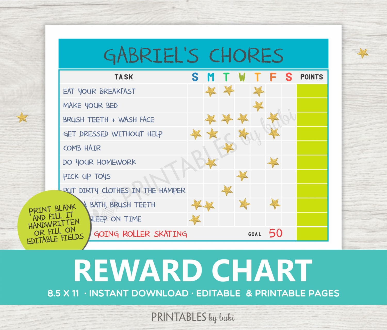 KIDS Chore Chart Chore Chart Printable Responsibility Chart