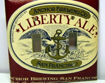Liberty Ale Recycled Double Light Switch Cover, Beer, Red, White, San Francisco, Anchor Brewing