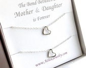 Mother Daughter Heart Necklaces. Sterling Silver Heart Necklace Set. Two Hearts Necklace Gift Set.