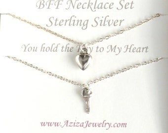BFF Necklaces. Key To My Heart Necklaces. Sterling Silver Heart Key Necklace Set. Best Friends Forever Necklaces.