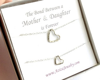 Mother Daughter Heart Necklaces. Sterling Silver Heart Necklace Set. Two Hearts Necklaces