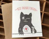 Letterpress Zombie BFF Card with Zombie Cat and Undead Rat, Best Friends Forever