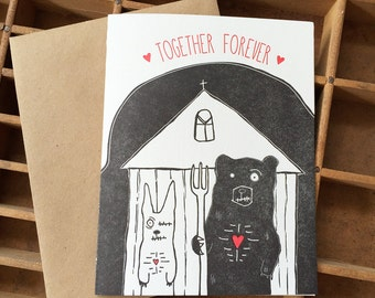 Letterpress Zombie Together Forever Card, Woodland Zombie Gothic with Black Bear and Rabbit