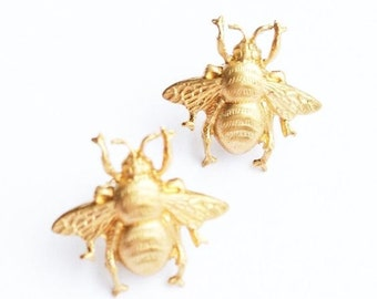 Bee EARRINGS Gold Stud Earrings Golden Honey Bee Woodland  Insect