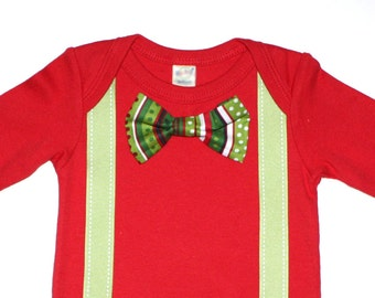 Red and Green Christmas Baby Boy Bow Tie Onesie and Suspenders Free Shipping